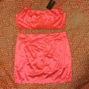 Plus Size Neon Pink Satin Two Piece Set